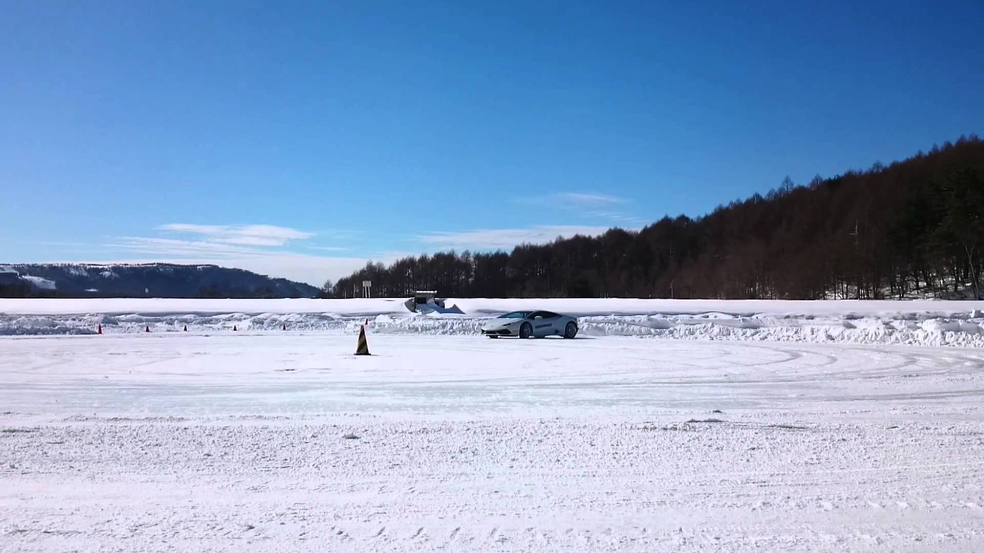 Watch This Lamborghini Huracan Rainbow Drift In The Snow