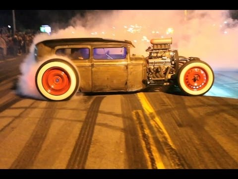 Sparks Smoke Flame Burnouts And Cruising Lake George Muscle - Cool cars doing burnouts