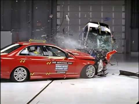 A Smart For Two Car Takes On Mercedes C In Frightening Head Crash Test At 64kmh