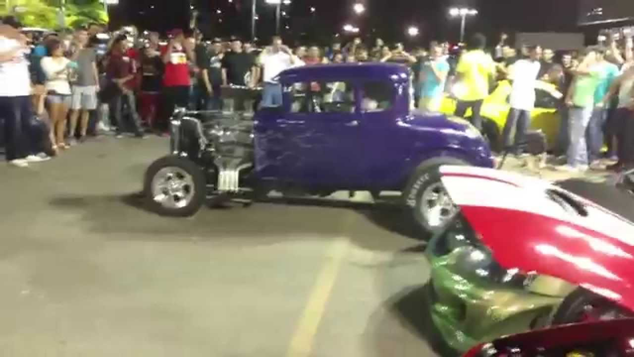 Watch This V8 Hot Rod Show Up This Pack Of Tuners Revving Their 4 ...