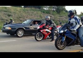 Insane Illegal Street Racing ZX10R GSXR600 Beater Bomb At